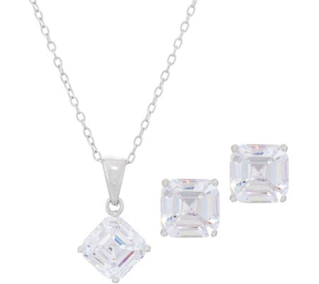 Diamonique 4.00 ct tw Earring and Pendant Set, Sterling, Boxed