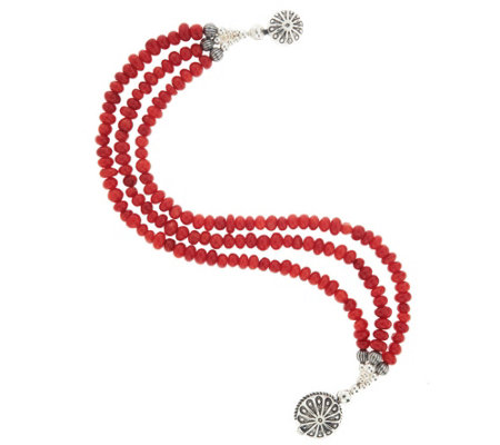 """As Is"" American West Sterl 3-Strand Red Coral Bead Bracelet"