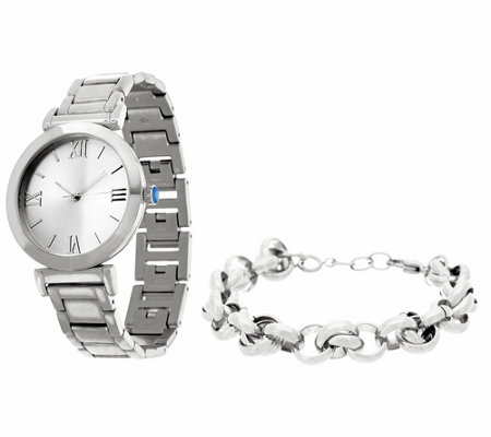 """As Is"" Stainless Steel Watch Set with Bracelet, Boxed"