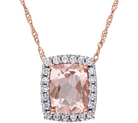 14K 1.75 ct Morganite & 1/5 cttw Diamond Pendant with Chain
