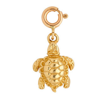 14K Yellow Gold 3-D Turtle Charm - J107982