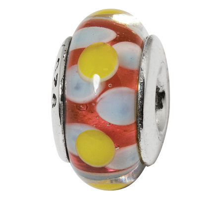 Prerogatives Sterling Yellow and Light Blue onRed Glass Bead