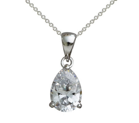 Diamonique 2.00 cttw Pear Shaped Pendant, Platinum Clad
