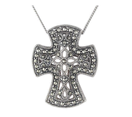 "Suspicion Sterling Marcasite Cross Pendant with18"" Chain"