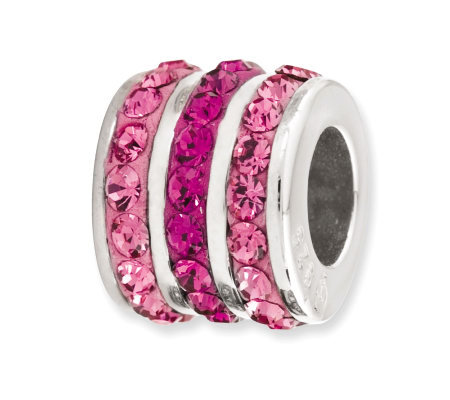 Prerogatives Sterling Fuchsia Crystal Small Barrel Bead