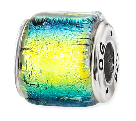 Prerogatives Sterling Yellow & Blue Dichroic Glass Square Bead