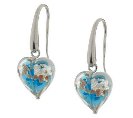 VicenzaSilver Sterling Murano Glass Heart Dangle Earrings