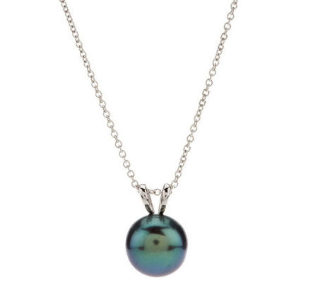 "Honora Sterling Cultured Pearl 12.0mm Button Pendant with 18"" Chain"