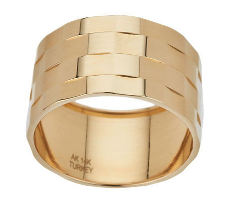 Polished Status Wide Band Ring 14K Gold