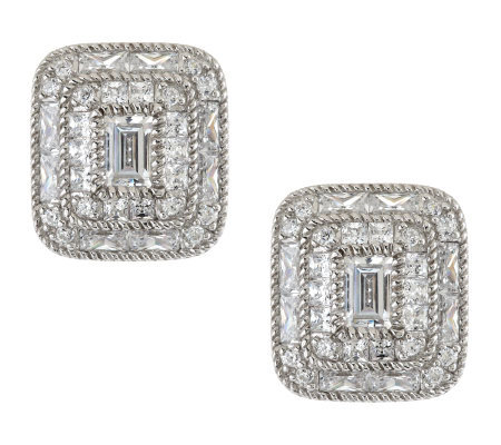 Judith Ripka Sterling 4.00ct Diamonique Baguette Button Earrings