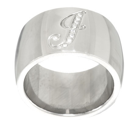 Stainless Steel Pave Initial Band Ring