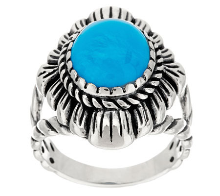 American West Sterling Sleeping Beauty Turquoise Concha Ring