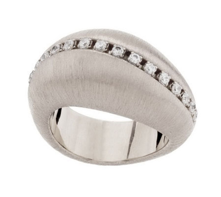 Vicenza Silver Sterling Wave Brushed Satin Diamonique Domed Ring
