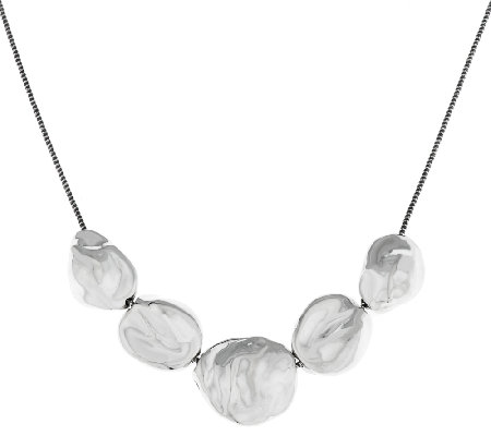 "Hagit Sterling 18"" Sculpted Pod Station Necklace, 23.4g"