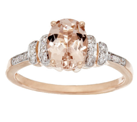 1.00 ct Oval Morganite and 1/10 ct tw Diamond Ring, 14K Gold