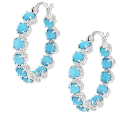 Sleeping Beauty Turquoise Sterling Inside Out Hoop Earrings