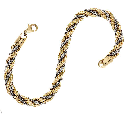 "14K Gold 6-3/4"" Two-Tone Twisted Wrapped Rope Bracelet, 5.0g"