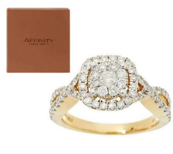 """As Is"" Twisted Band Cluster Halo Diamond Ring 14K 1.00ct tw by Affinity - J296182"