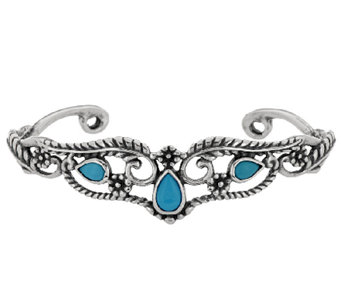 Sleeping Beauty Turquoise Sterling Leaf Design Cuff by American West - J296282
