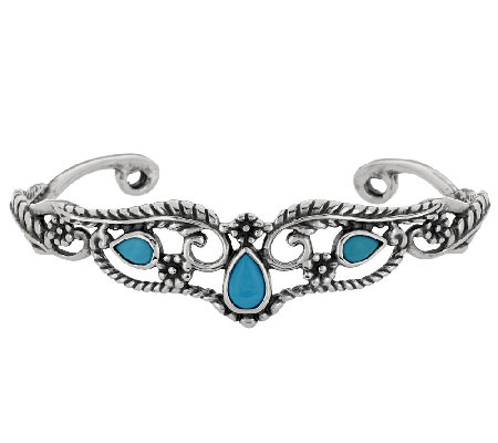 Sleeping Beauty Turquoise Sterling Leaf Design Cuff by American West