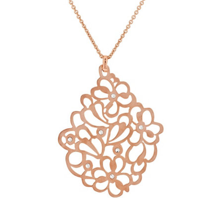 "Bronze Floral Crystal Pendant w/18"" Chain by Bronzo Italia"