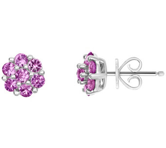 Sterling 1.05 cttw Sapphire Flower Stud Earrings - J308782
