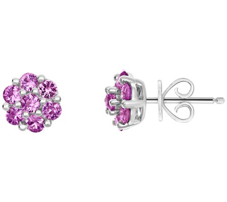 Sterling 1.05 cttw Sapphire Flower Stud Earrings