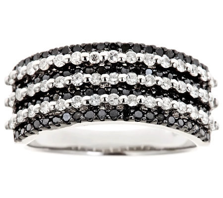 Black & White Multi-Row Diamond Ring, Sterling1ct by Affinity