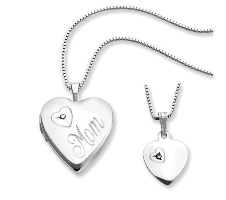 "Sterling Polished ""Mom"" Heart Locket & Child'sPendant Set"