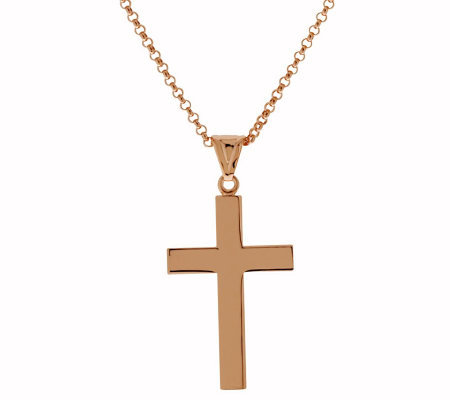 "Bronze Polished Cross Pendant w/18"" Chain byBronzo Italia"
