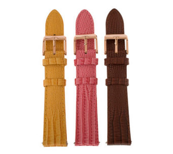Bronzo Italia 18mm Set of 3 Lizard-Embossed Leather Straps - J313882