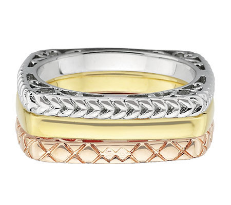 Simply Stacks Sterling Tri-Color Square Ring Set