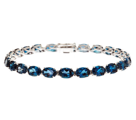 Sterling Silver 21.00 ct tw London Blue Topaz Tennis Bracelet