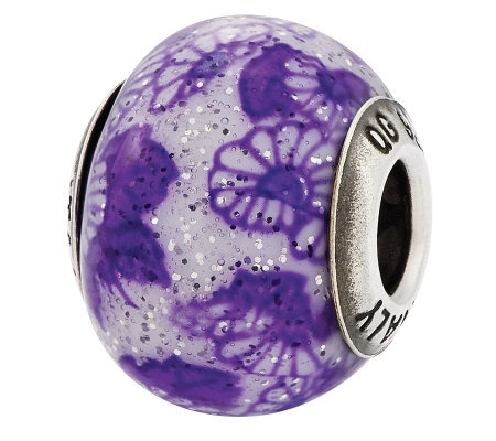 Prerogatives Sterling Purple Floral Italian Murano Bead