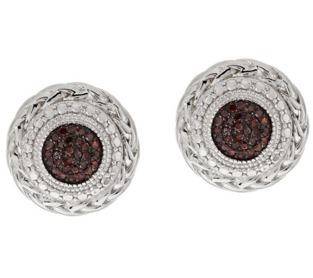 Round Pave' Diamond Studs, Sterling, 1/5 cttw, by Affinity