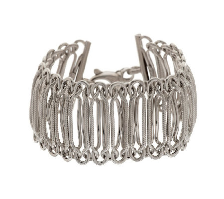 """As Is"" VicenzaSilver Sterling 8"" Woven Bracelet, 31.5g"