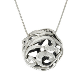 "Hagit Sterling Silver Openwork Ball Pendant on 32"" Chain - J320182"
