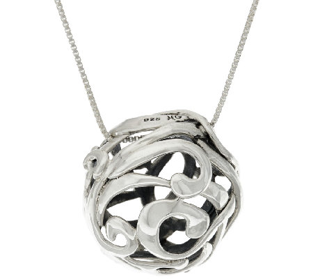 "Hagit Sterling Silver Openwork Ball Pendant on 32"" Chain"