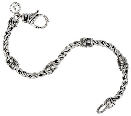 JAI Sterling 4mm Wheat Chain Croco Station Bracelet