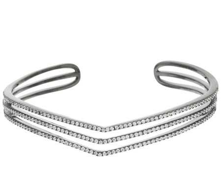 Italian Silver Sterling Triple Chevron 2.0cttw Diamonique Bangle