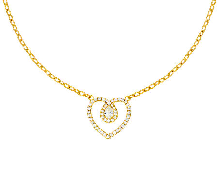 Judith Ripka Sterling & 14K Clad Diamonique Heart Necklace