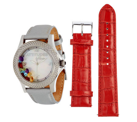 """As Is"" Attitudes by Renee 2.25 cttw Multi-gemstone Watch"