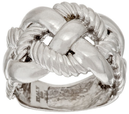 """As Is"" Italian Silver Polished & Textured Braid Design Ring"