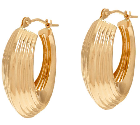 14K Gold Ribbed Polished Oval Hoop Earrings