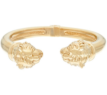 14K Gold Average Polished Lion Head Cuff Bracelet — QVC