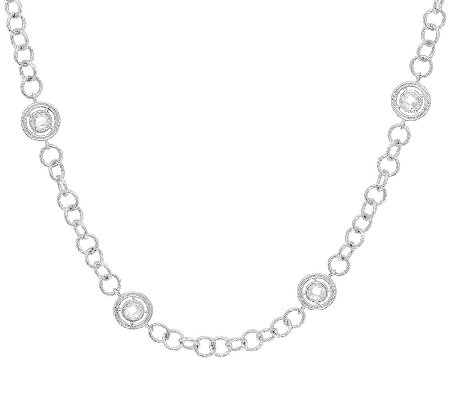 "Judith Ripka 18"" Sterling Verona Station Necklace"
