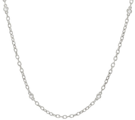 "Judith Ripka Sterling 18"" Textured Link Toggle Necklace"