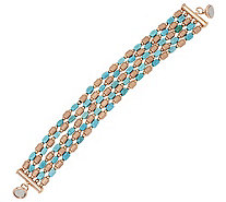 """As Is"" Bronzo Italia Turquoise & Brushed Satin Nugget Bracelet - J327282"