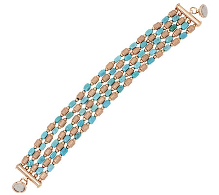 """As Is"" Bronzo Italia Turquoise & Brushed Satin Nugget Bracelet"