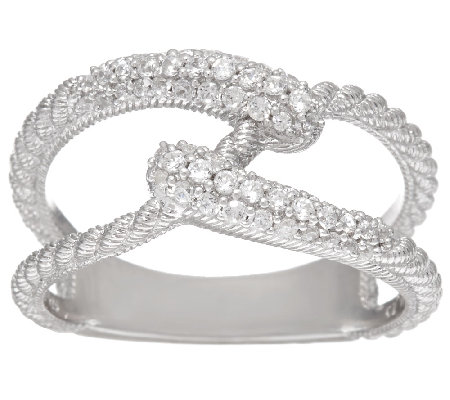 Judith Ripka Sterling 4/10 cttw Diamonique Swirl Ring